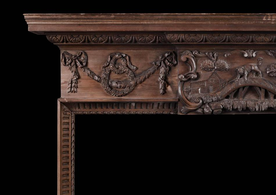 An early 19th century pine fireplace featuring Aesop's Fable