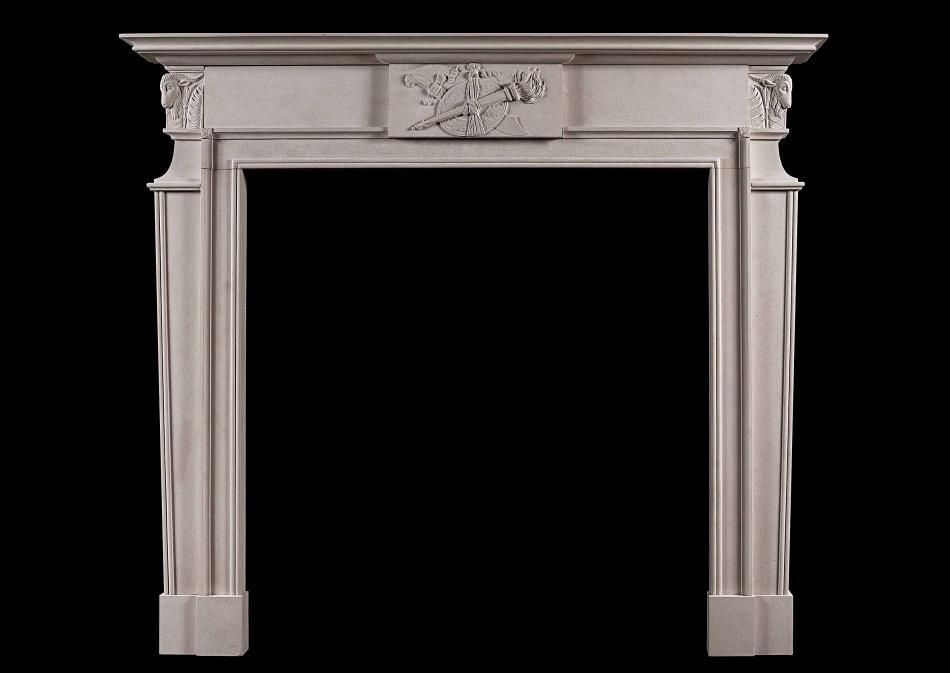 A late Georgian fireplace in Portland stone