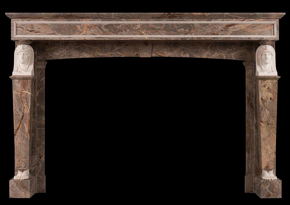 A French Empire Sarrancolin and Statuary marble fireplace