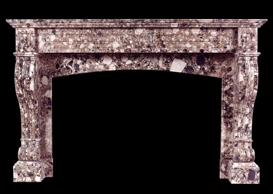 A French Louis Philippe Breche Nouvelle marble fireplace