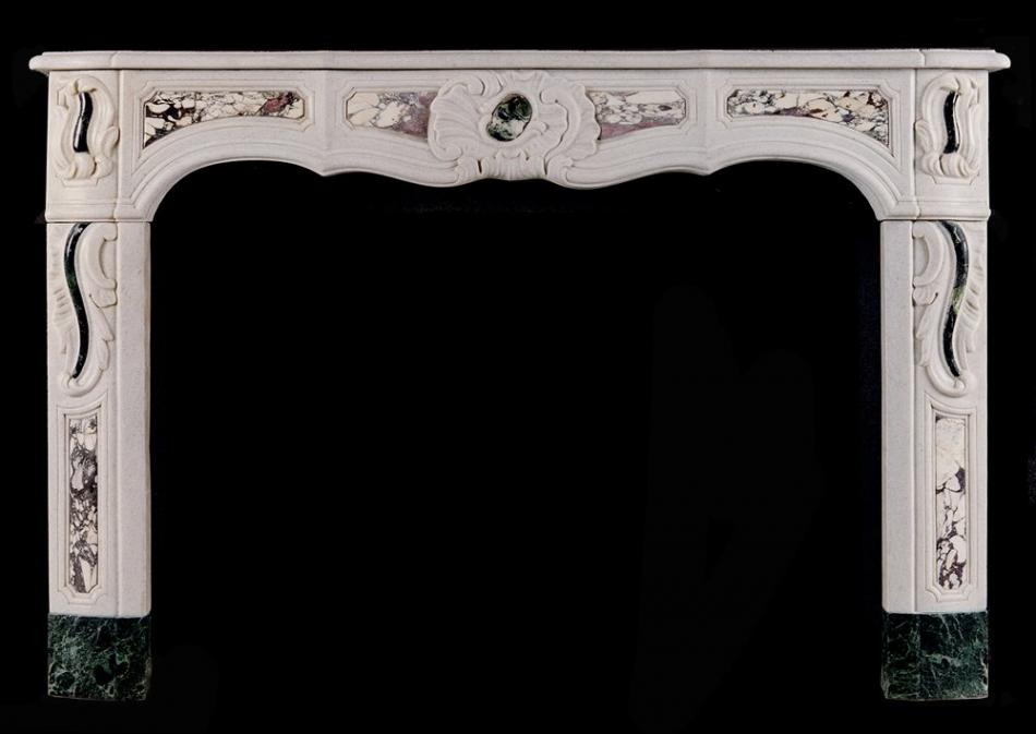 A 19th century French Provençale white marble fireplace with coloured inlay