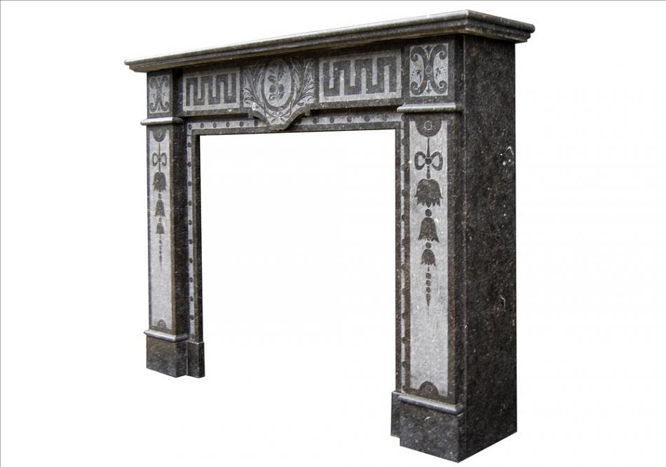 A French Arts and Crafts fireplace in Belgian Fossil marble