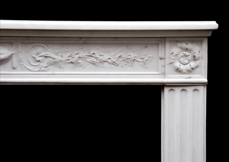 A Period 18th century French Louis XVI Statuary marble fireplace