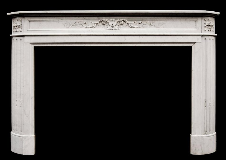 A 19th century French Louis XVI Carrara marble fireplace