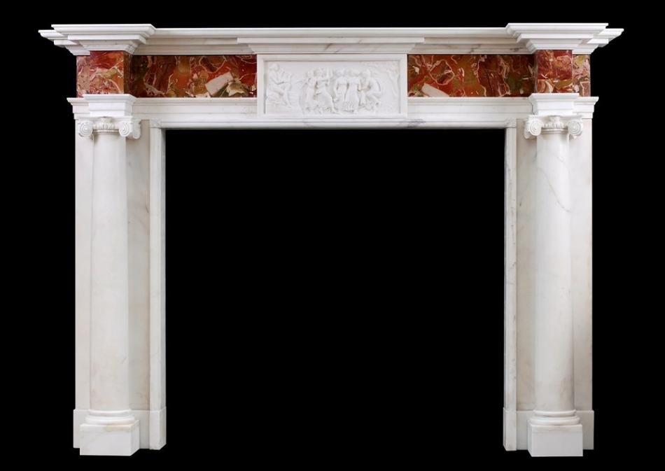 A George III style Antique Statuary marble fireplace with Jasper inlay