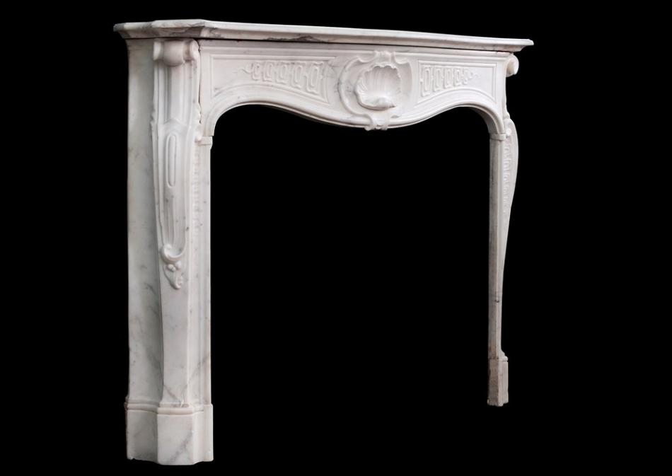 A quality 18th century antique Italian fireplace in Statuary marble