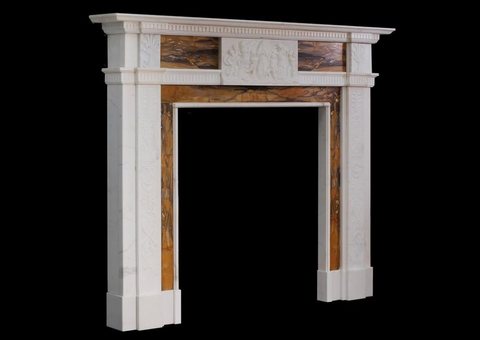A Neo Classical English Statuary and Sienna marble fireplace