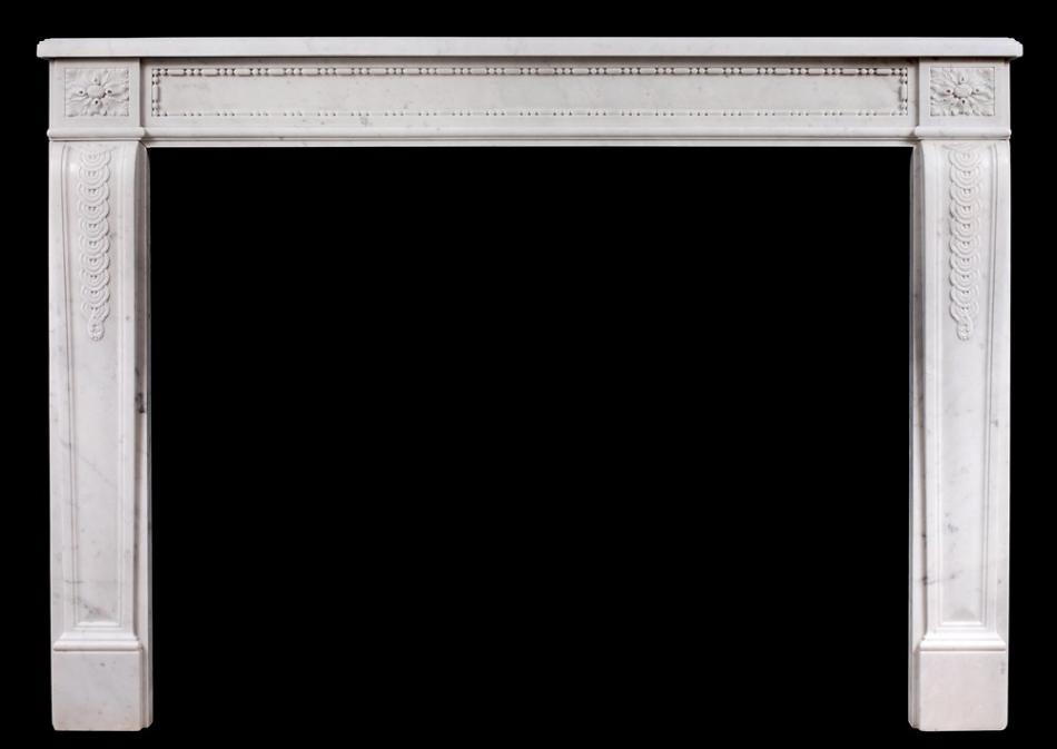 An early 19th century Antique French Louis XVI style Carrara marble mantel