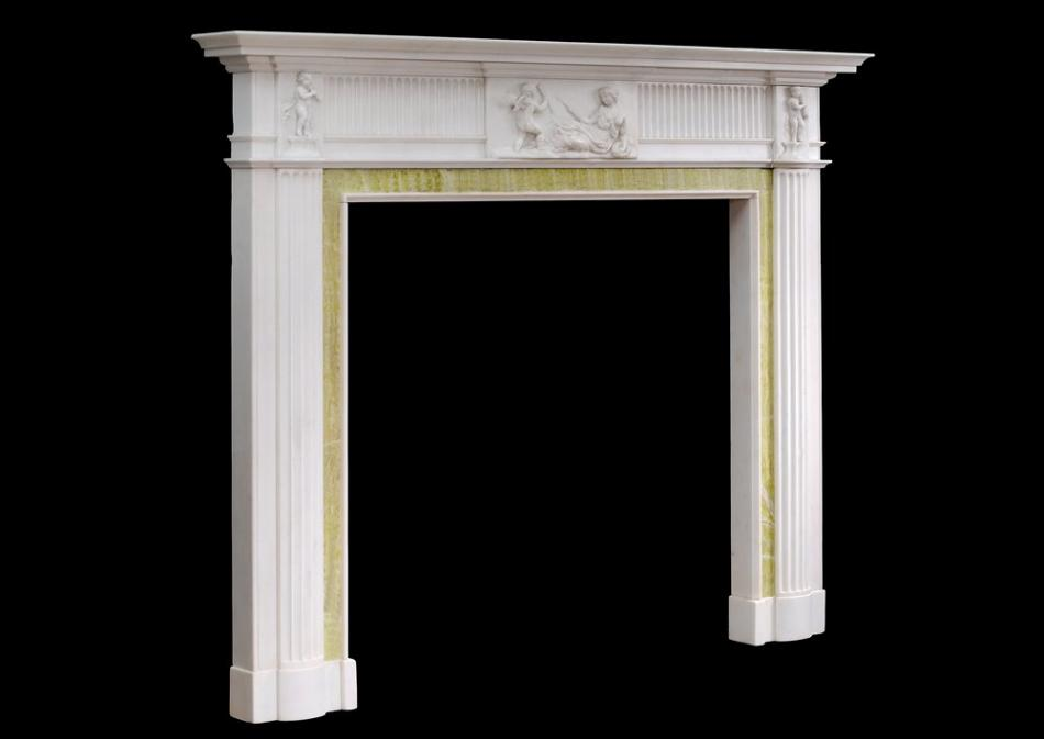 An English Georgian antique fireplace in Statuary marble