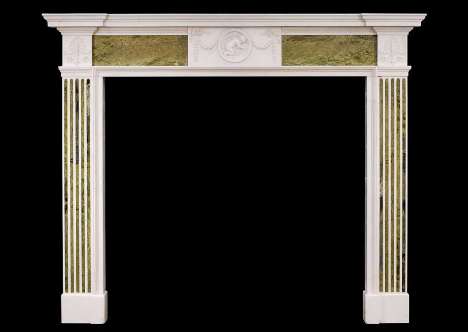 An 18th century George III Statuary and Connemara marble chimneypiece