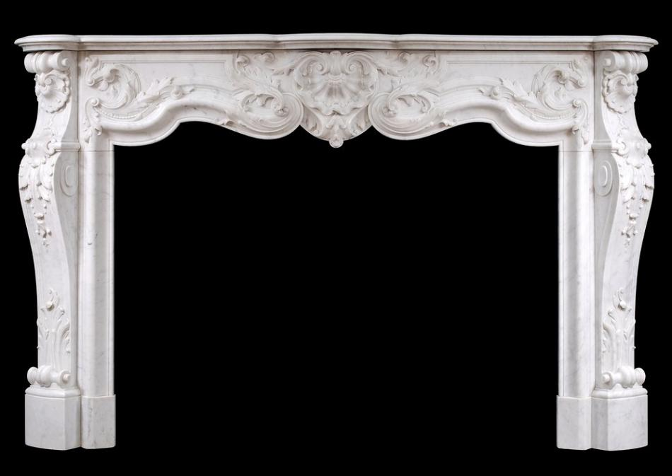 A fine quality French Louis XV style marble fireplace in Carrara marble