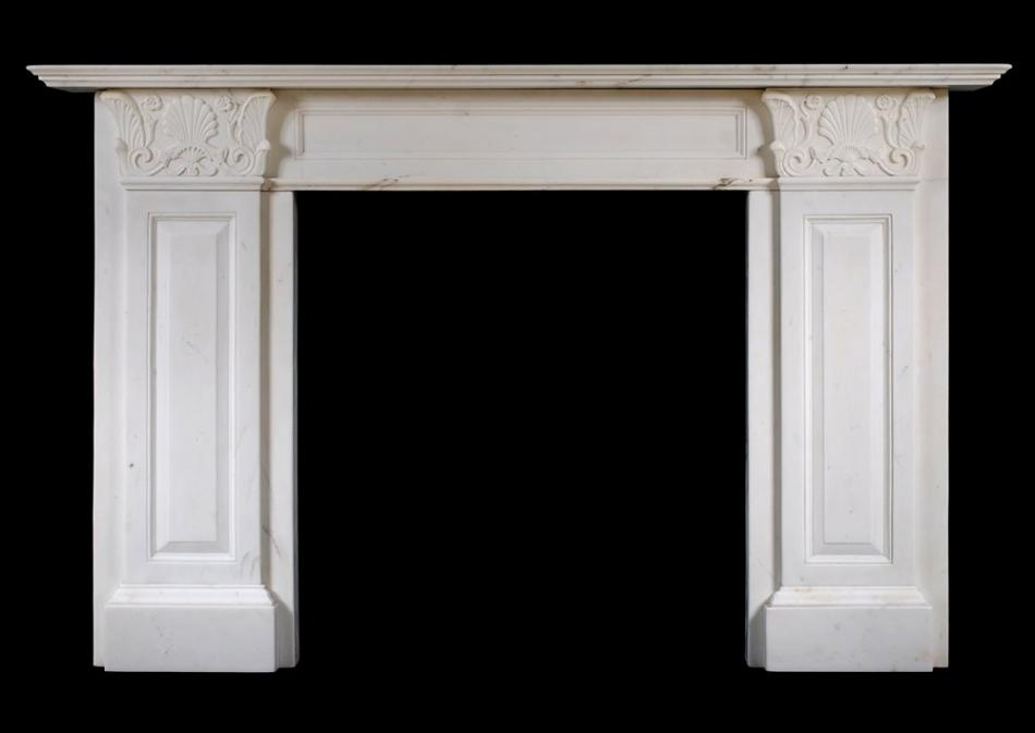 A Statuary Regency marble fireplace in the manner of Thomas Hope