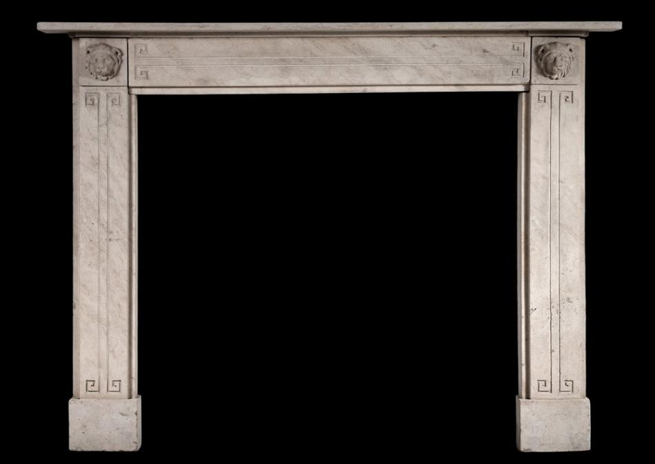 A Fine quality Period Regency limestone chimneypiece with carved lions