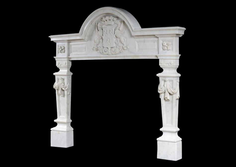An English Baroque fireplace in Carrara marble
