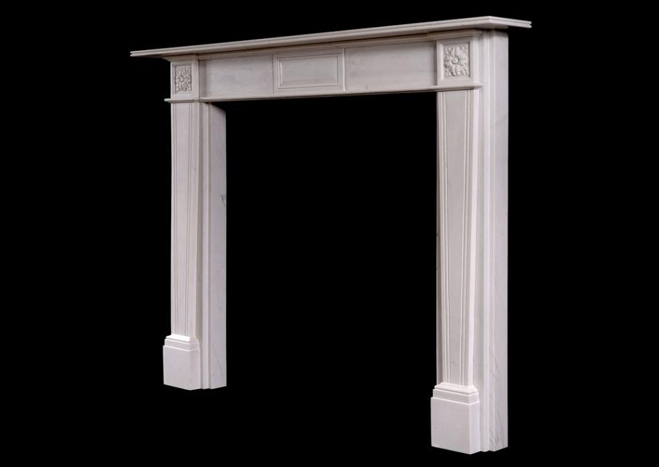 A Regency Style White Marble Fire Surround