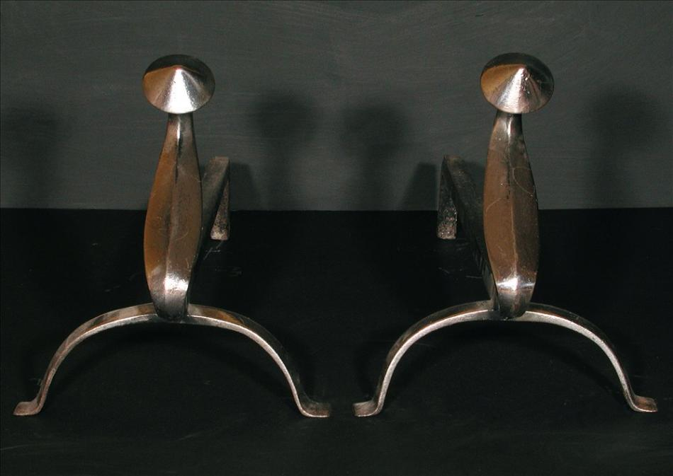 A pair of polished steel firedogs - 12 inch