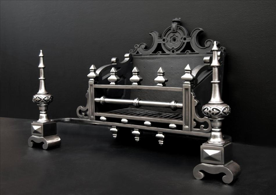 A large and impressive mid 19th century English cast iron firegrate
