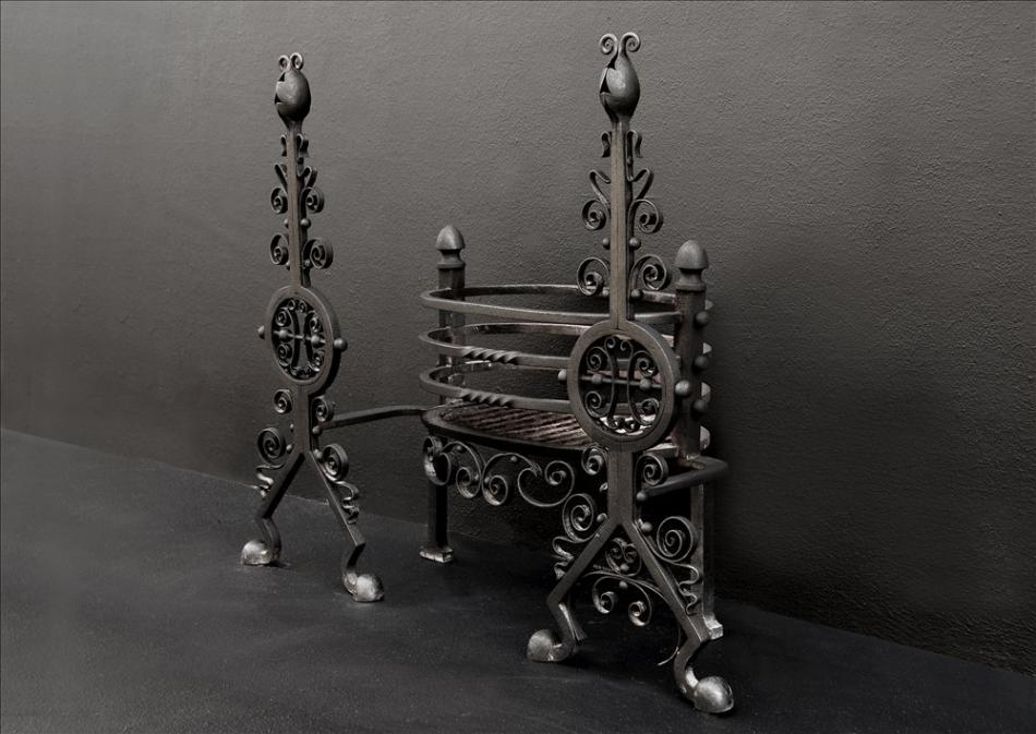A wrought iron firegrate from the Arts and Crafts movement