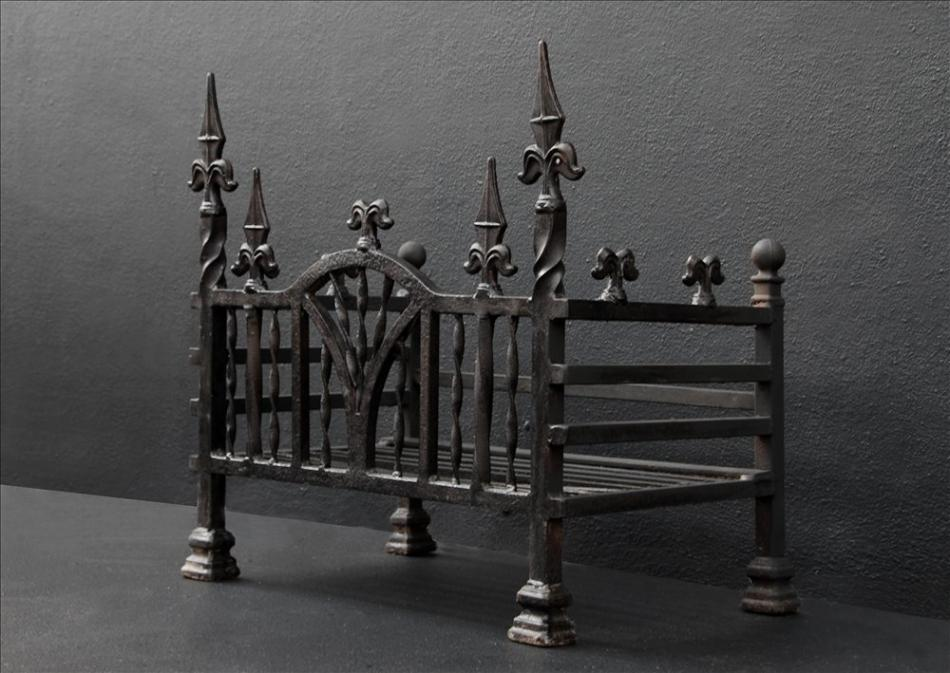An English wrought iron firegrate