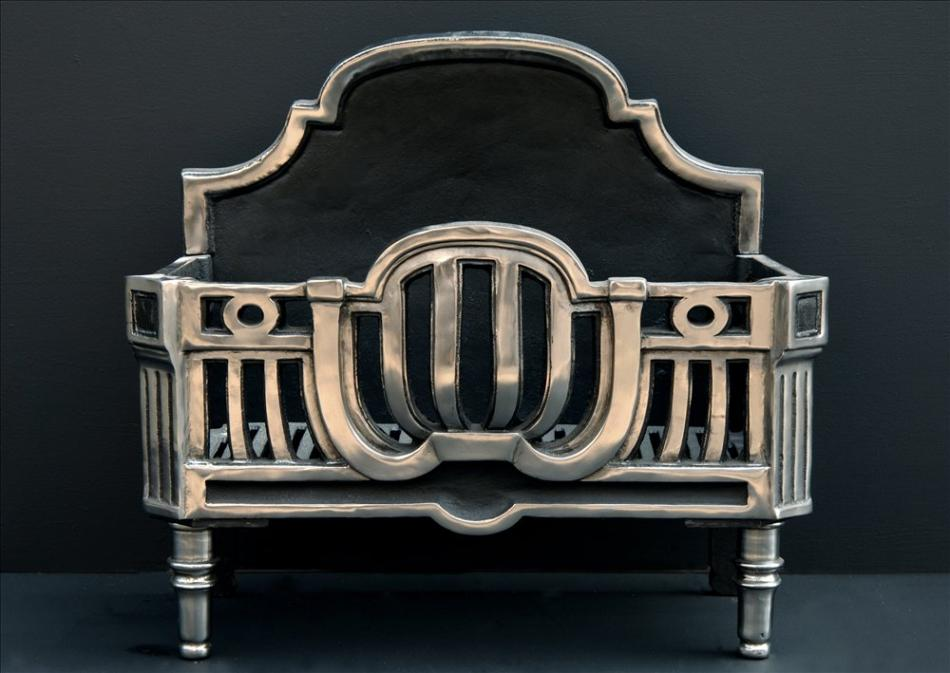An Art Deco style polished steel firebasket