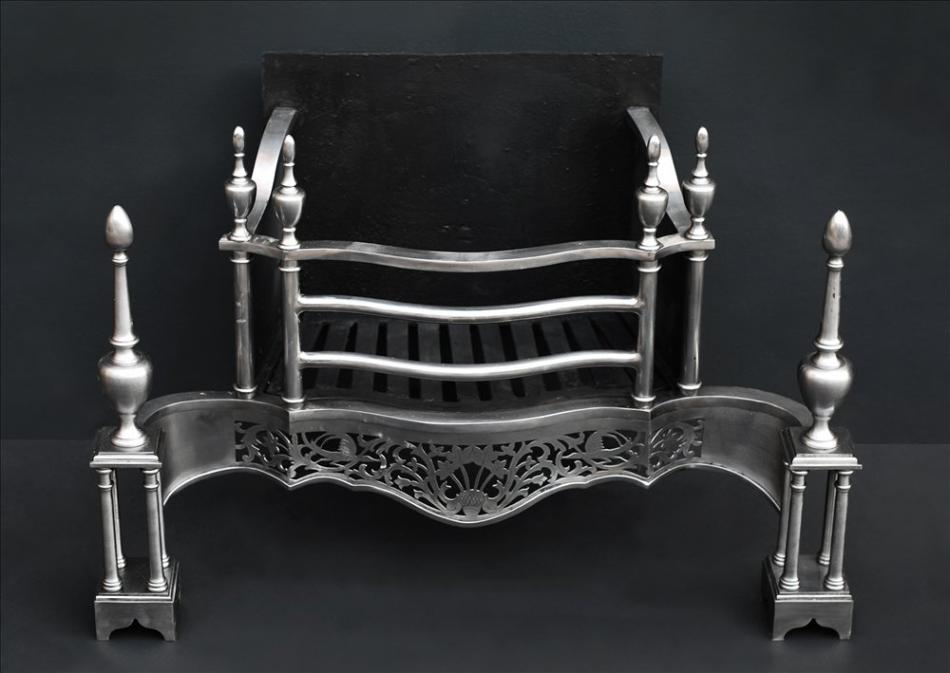 A mid Georgian Chippendale style steel firegrate
