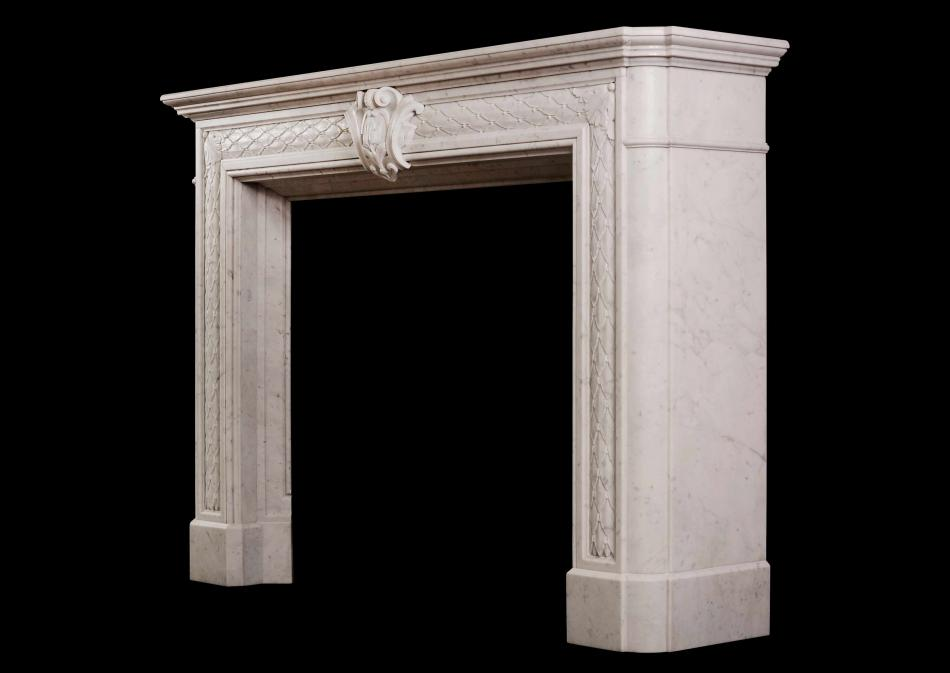 A 19th century Statuary white marble fireplace