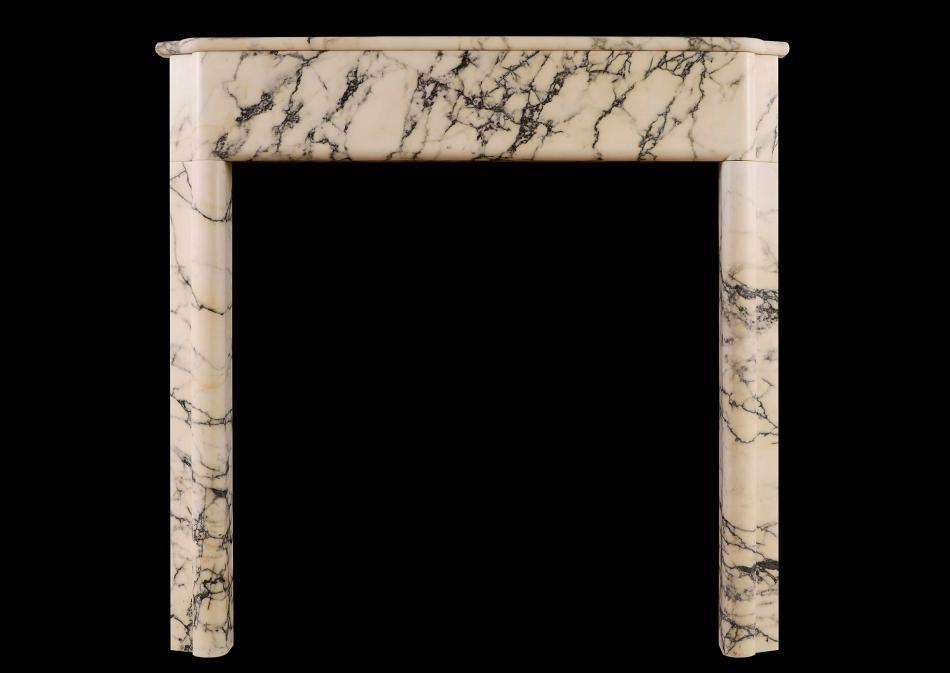 An Art Deco fireplace in Italian Pavonazzo marble