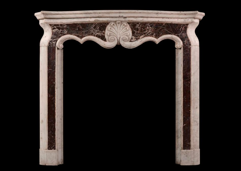 A small Italian Carrara and Rosso Levanto marble chimneypiece