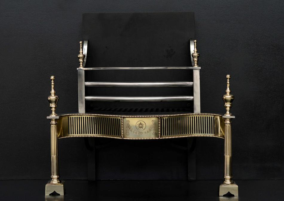 A brass and steel firegrate in the late Georgian style