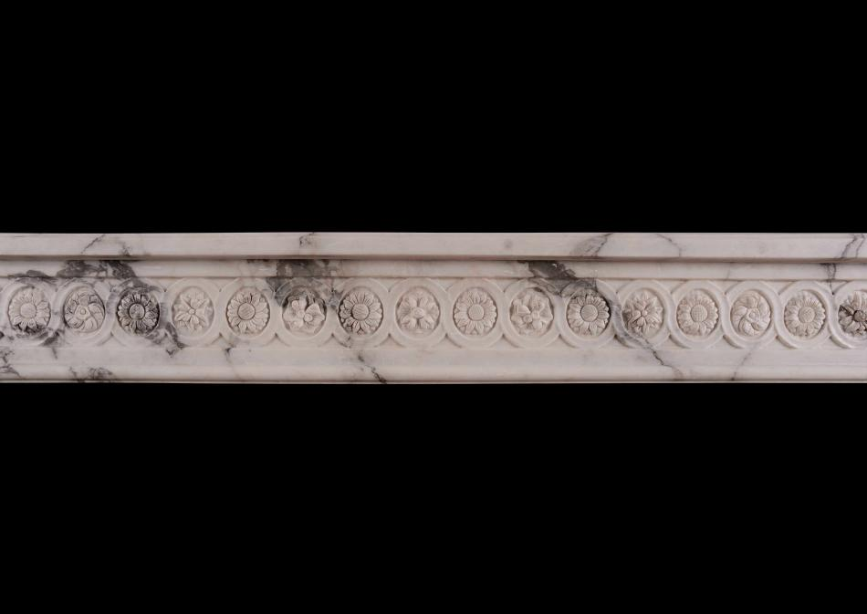 An Italian Arabescato French Louis XVI marble fireplace