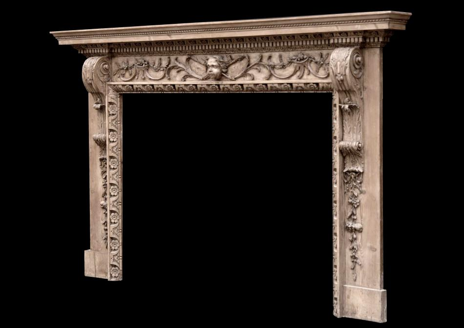 A fine quality mid 18th century English pine fireplace