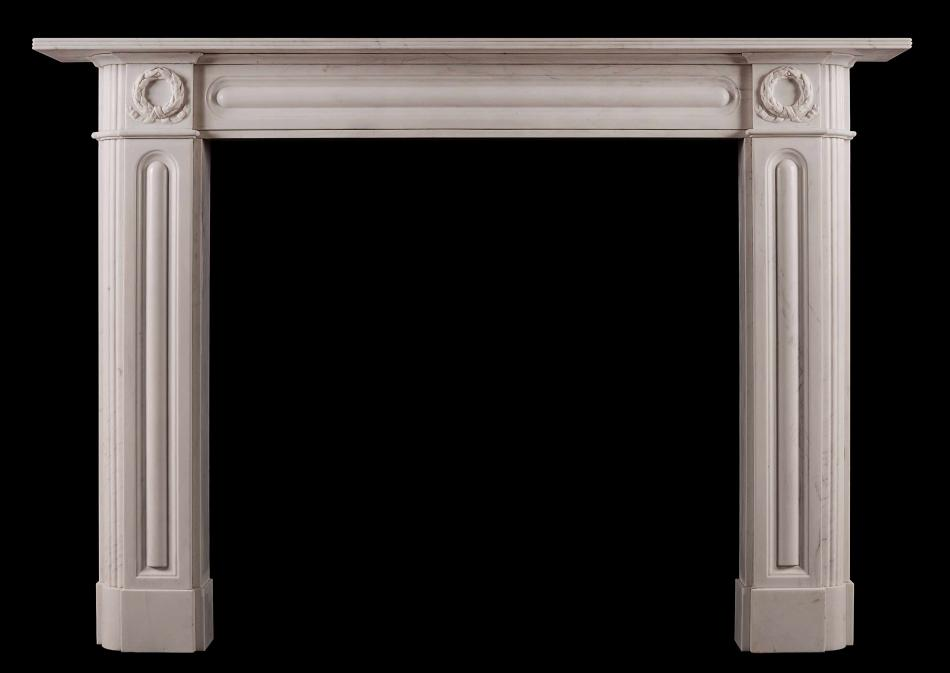 An English Regency marble fireplace in white marble