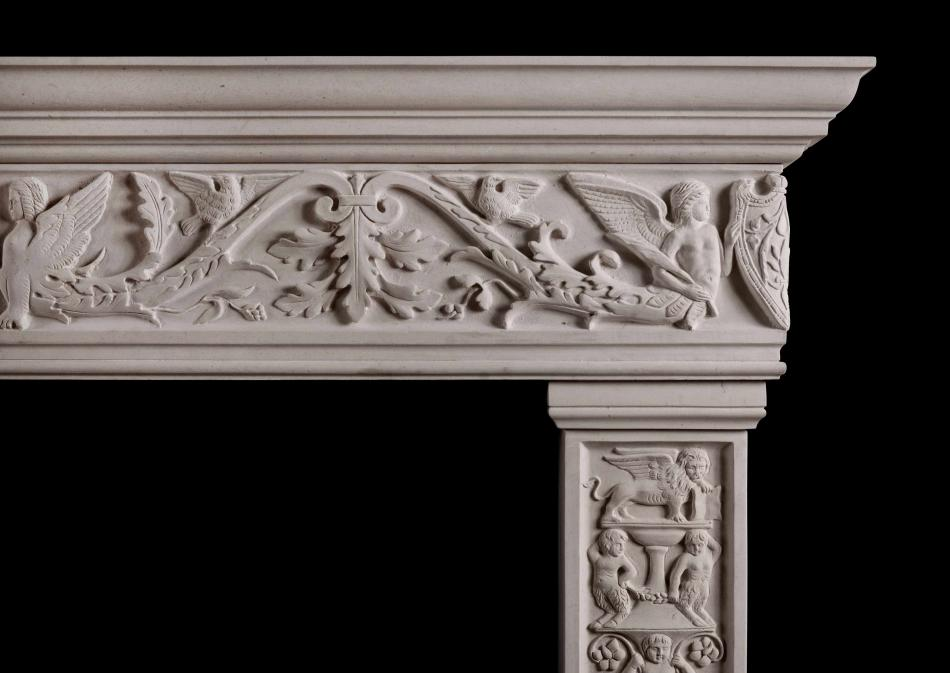 A carved Italian Renaissance fireplace