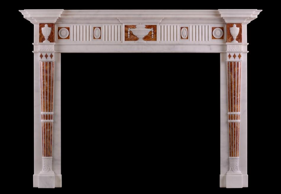 A good quality English Statuary and Jasper marble fireplace