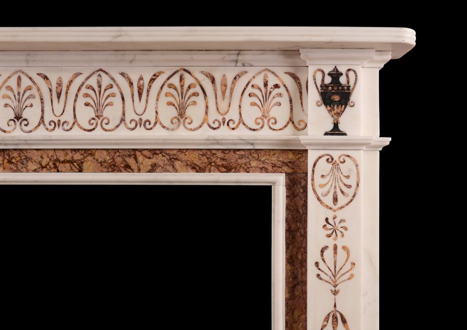 A fine quality marble fireplace in the manner of Pietro Bossi