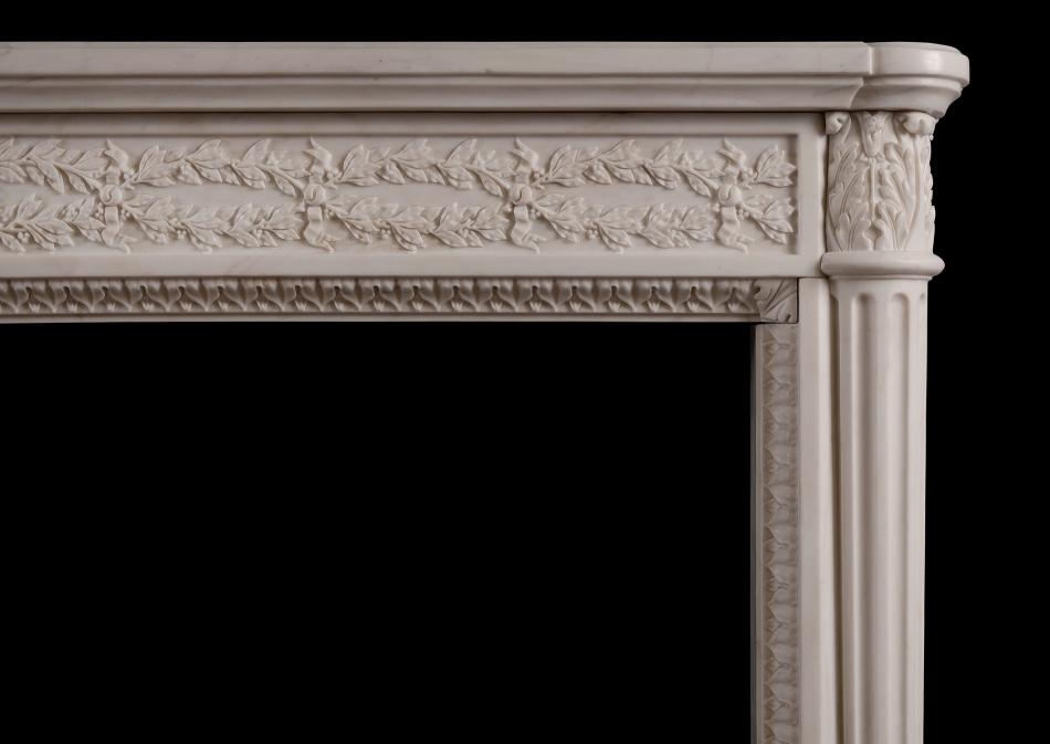 A fine French Louis XVI white marble fireplace