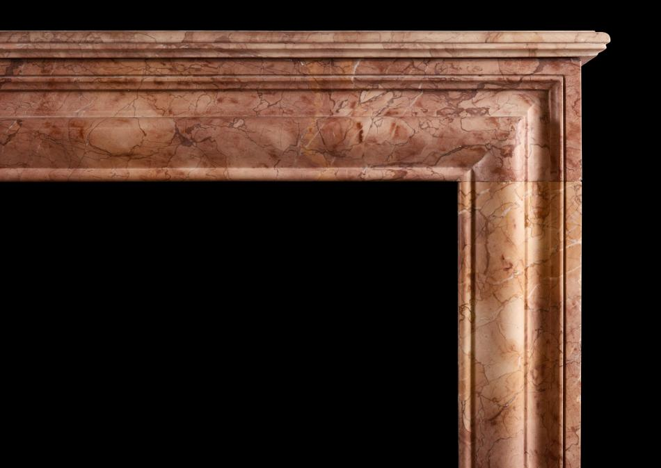 Architectural fireplace in Rosso Verona marble