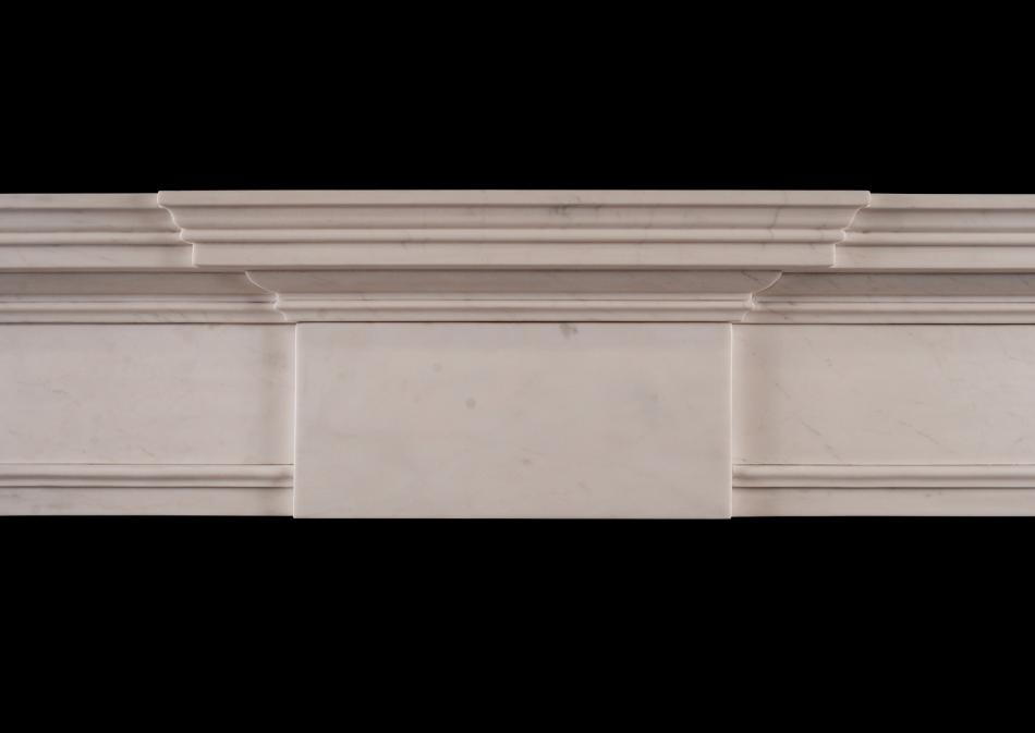 An elegant English fireplace in white marble