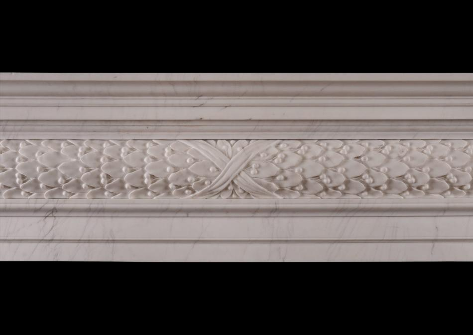 A MID 18TH CENTURY STYLE WHITE MARBLE FIREPLACE
