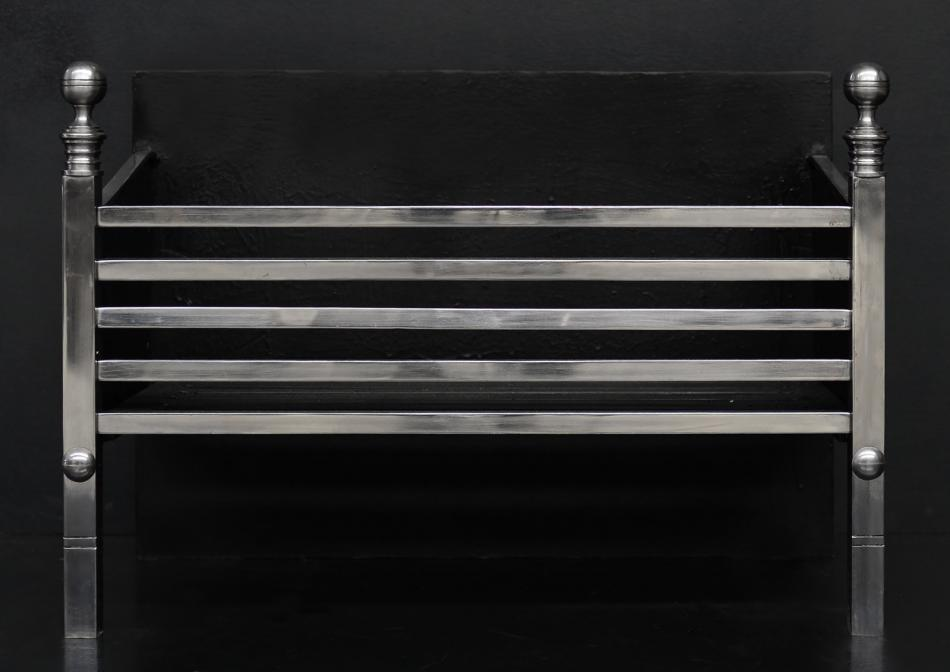 A simple polished steel firegrate