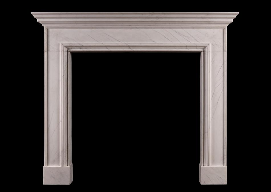 An English fireplace in white marble