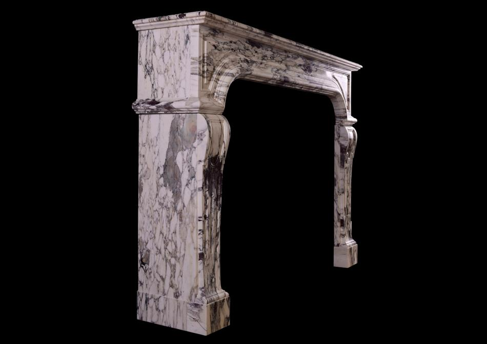 A French Louis XIV Breche Violette marble fireplace