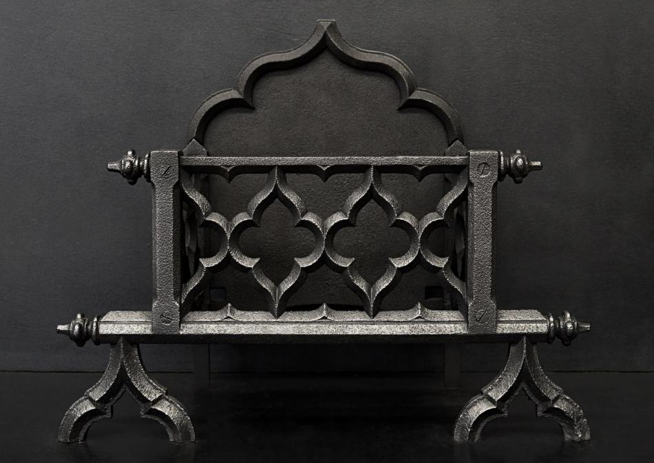 A heavy Gothic style firegrate