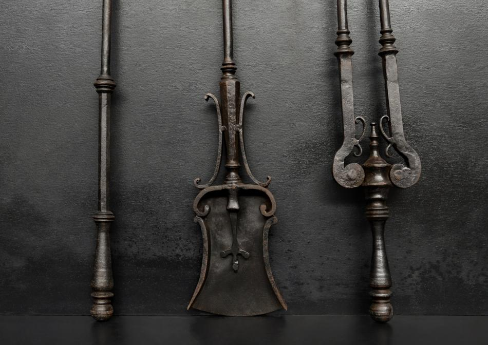 A set of fire tools with trident end