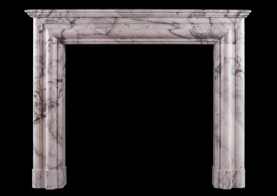 An Architectural fireplace in Arabescato marble