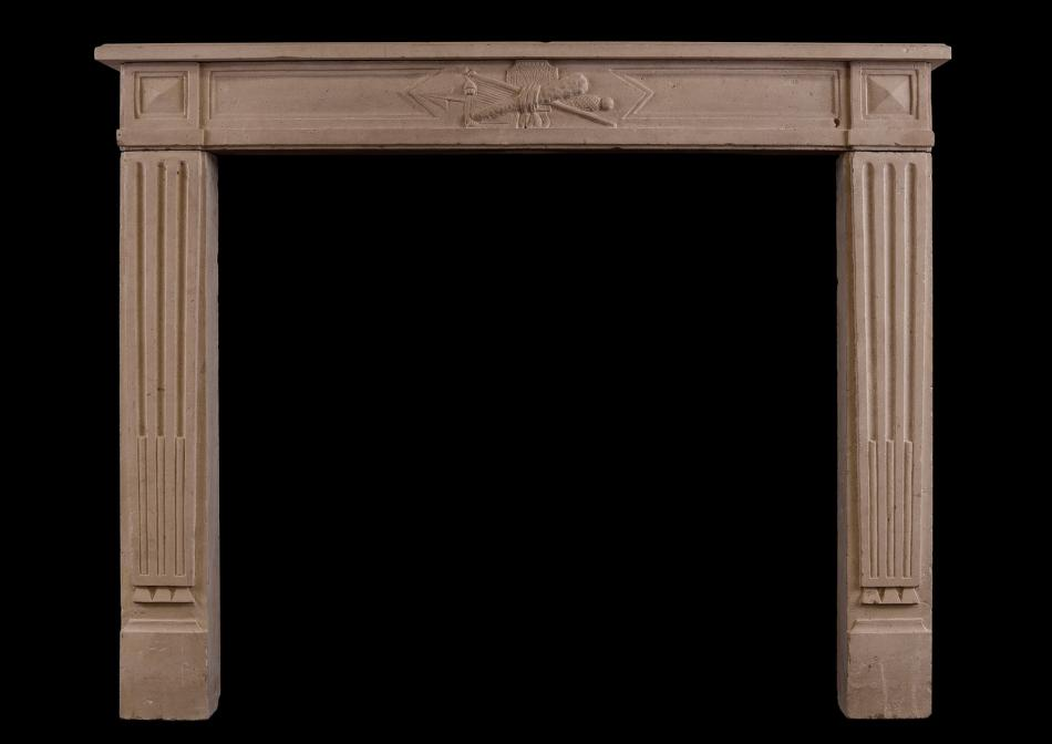 A Louis XVI style French limestone antique fireplace