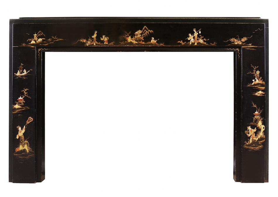 An Art Deco Japanned/Chinoiserie fireplace