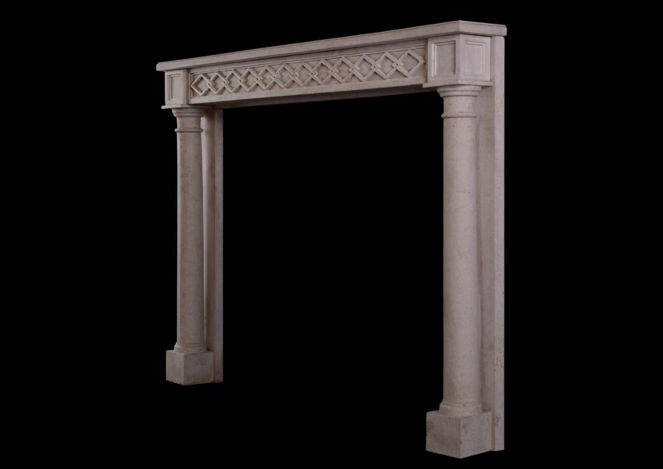 A French Directoire style limestone fireplace
