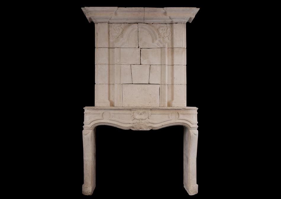 A large French trumeau fireplace
