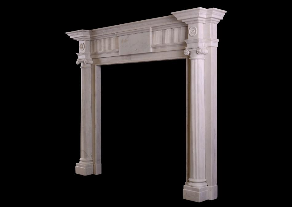 A white marble Georgian style fireplace